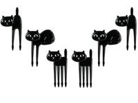 Food Picks - Schwarze Katzen, 6er Set